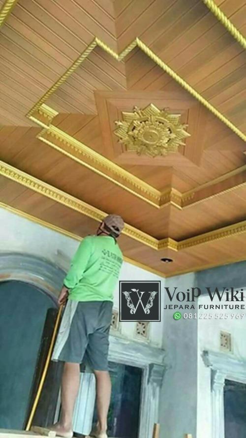 pemasangan plafon kayu jati di masjid