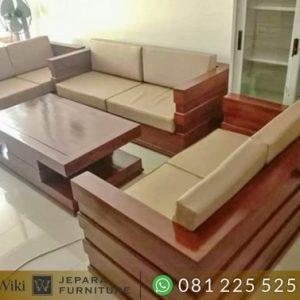 Kursi Tamu Sofa Minimalis Modern Kayu Jati Terbaik Untuk Lebaran