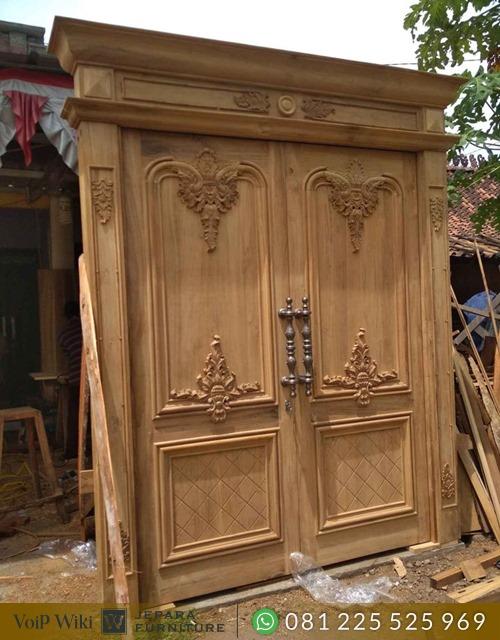 Pintu Rumah kayu Jati Ukir Klasik Mewah Asli Jepara