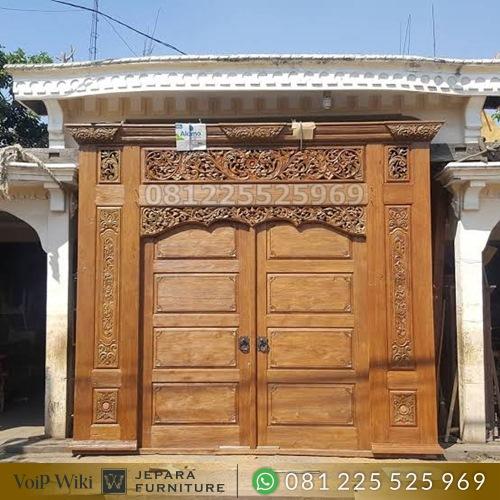 pintu garasi ukir kayu jati jepara paling mewah