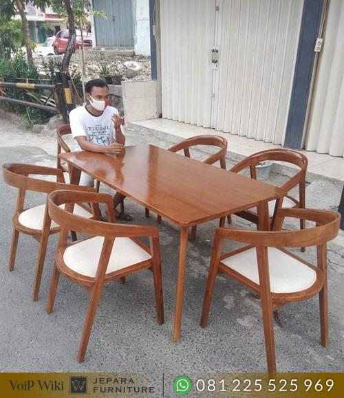 set meja kafe minimalis kayu jati jepara