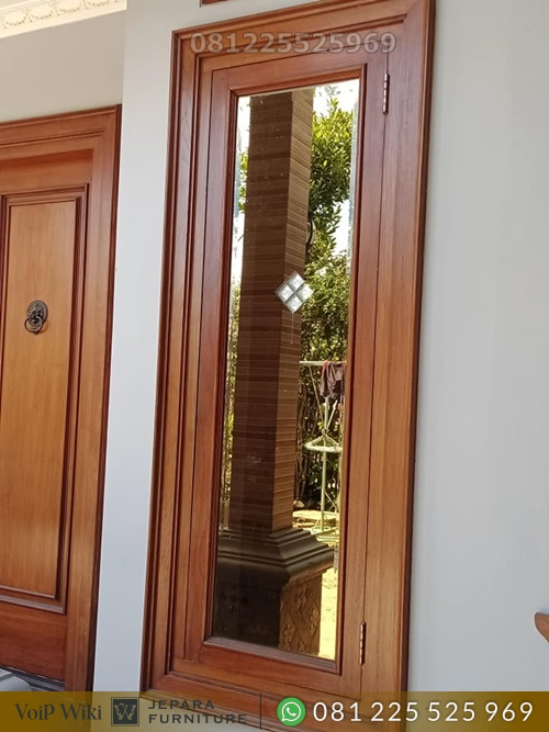Pintu Jati Kupu Tarung Kusen Jendela Minimalisan Tanpa Mata