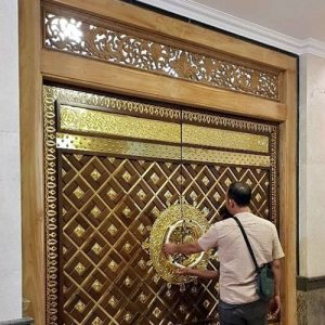 Pintu Masjid Nabawi Jati Asli Ukiran Dan Kuningan Ukir Tempel