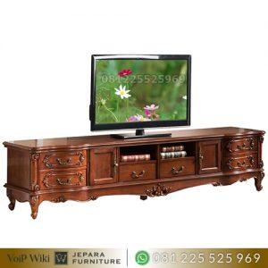 Meja TV Kayu Jati Terbaik Ruangan Mewah