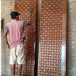 Pintu Anyaman Ukir Tikar Jati Jepara