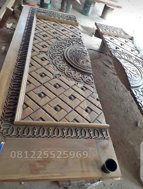 Foto Pintu Nabawi Ukiran Kayu Langsung Tidak Tempel
