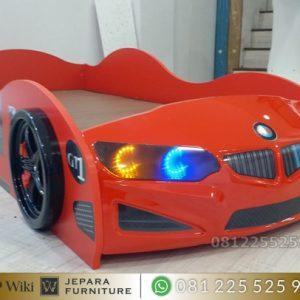 Tempat Tidur Mobil Anak Model BMW Vriasi Lampu LED
